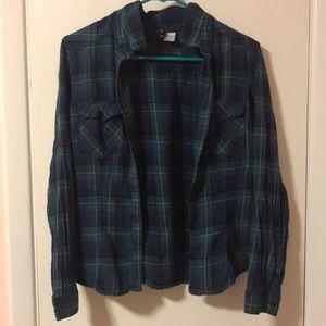 Dark blue/green flannel